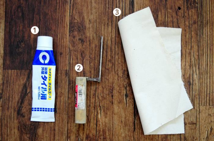 【道具】 ①ローラー ②ジョイントローラー ③なで刷毛 ④地ゴテ ⑤カッター ⑥壁紙用のり